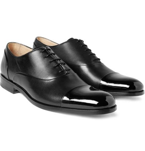 patent toe cap oxford shoes lyst mr hare miller patent toe cap shoes in black for