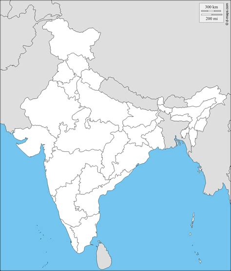 An Outline Political Map Of India by Political Map Of India And Great Map Resource 6th Grade Geography Asia Free