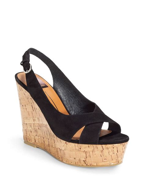dolce vita suede slingback wedge sandals in black lyst