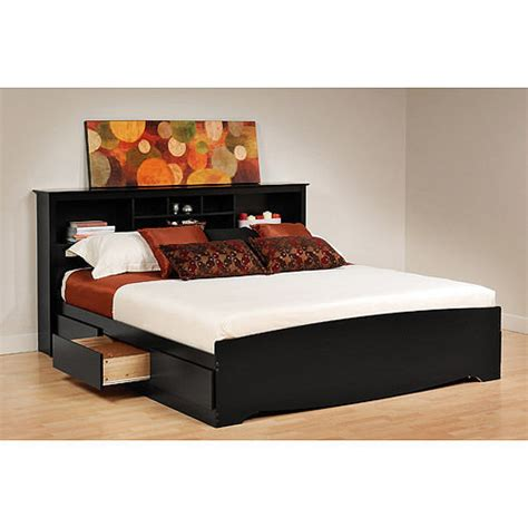 Black Storage Headboard by Black 6 Drawer King Size Platform Storage Bed Bookcase