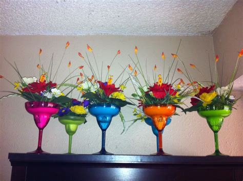 fiesta party centerpieces plastic margarita glasses