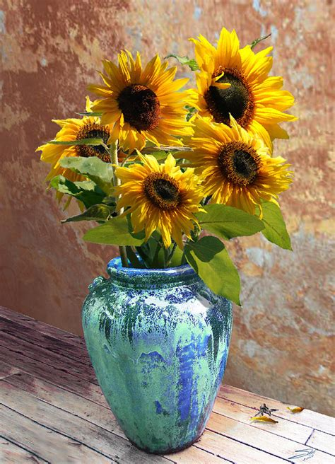 Sunflowers In Vase by Sunflowers In Blue Green Vase Digital By Im Spadecaller