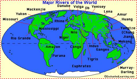 Great Rivers Of The World Map by Rivers Enchantedlearning Com