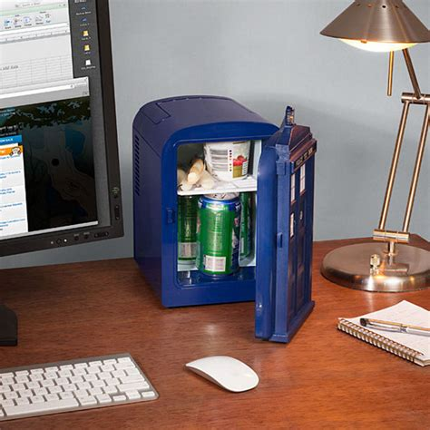 Small Desk Refrigerator Cheese Sticks And Desktop Tardis Mini Fridge Geekologie