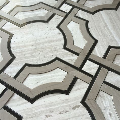 deco tile deco water jet mosaic timber white marble athens gray