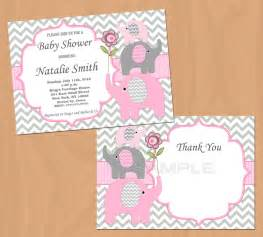baby shower invitation pink grey elephants baby shower