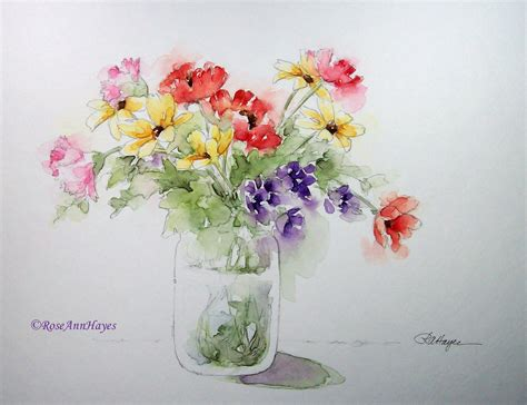 easy watercolor paintings flowers watercolor paintings by roseann hayes floral bouquet