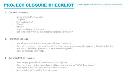 Project Closeout Checklist Template by Project Closure Checklist Pmd Pro