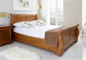 Wooden Sleigh Bed Style Louie Wooden Sleigh Bed Oak Finish Bed Frame Only