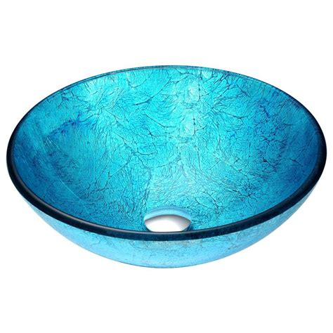 turquoise blue glass ls anzzi accent vessel sink in blue ls az047 the home depot