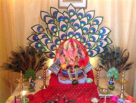 Ganpati Decoration At Home Ganpati Decoration Ideas At Home Dev Decors Pinterest