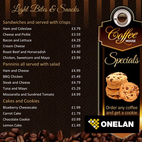 coffee shop menu board onelan digital signage layout