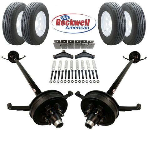 rockwell boat trailer axles tandem 5 200 lb electric brake trailer axle kit with