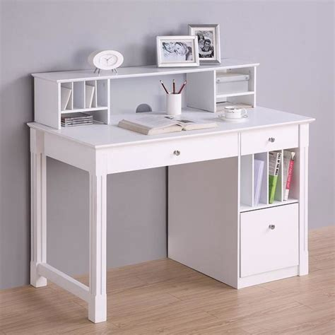 Deluxe White Wood Computer Desk With Hutch Modern White Hutch Desk