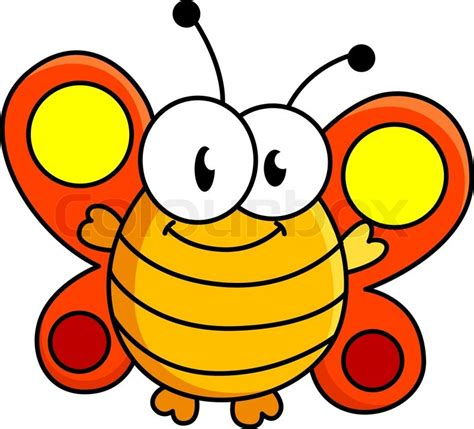 funny fat smiling butterfly cartoon vector illustration