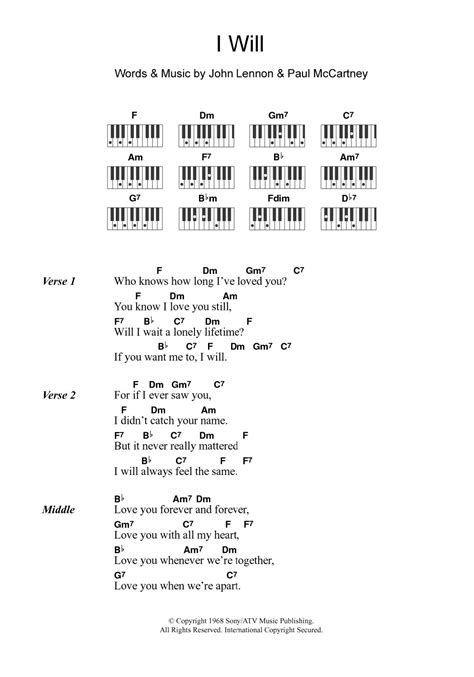 sheet   beatles piano chordslyrics