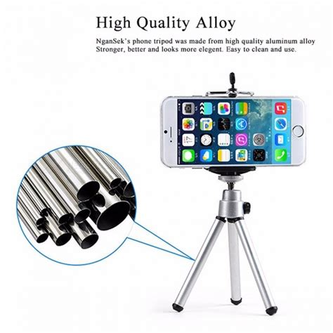 Tripod Mini Holder U Silver Gratis Paket Hadiah mini potable mobile phone tripod stand clip bracket holder mount adapter self timer phone