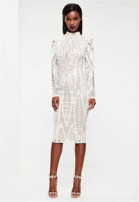 Longdress Vb Premium 5 peace white lace high neck midi dress missguided