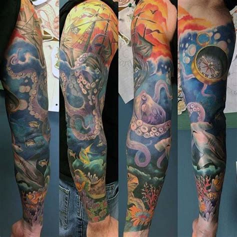 ocean tattoo quarter sleeve best 20 ocean sleeve tattoos ideas on pinterest