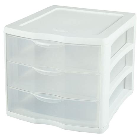 sterilite clearview 3 compartment plastic drawer unit
