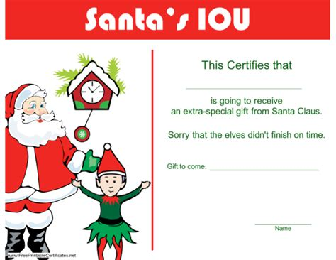 printable vouchers for christmas discovery christmas iou printable certificate template