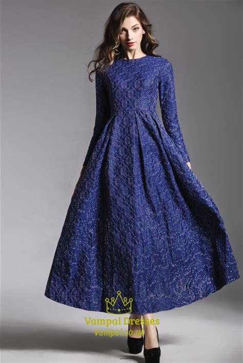 royal blue simple   royal blue high neck long sleeve