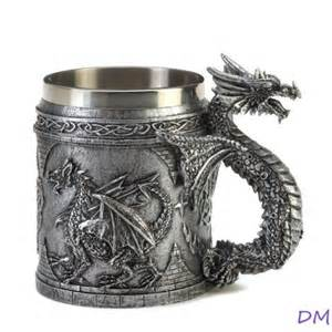 gothic medieval serpentine dragon mug with celtic symbols