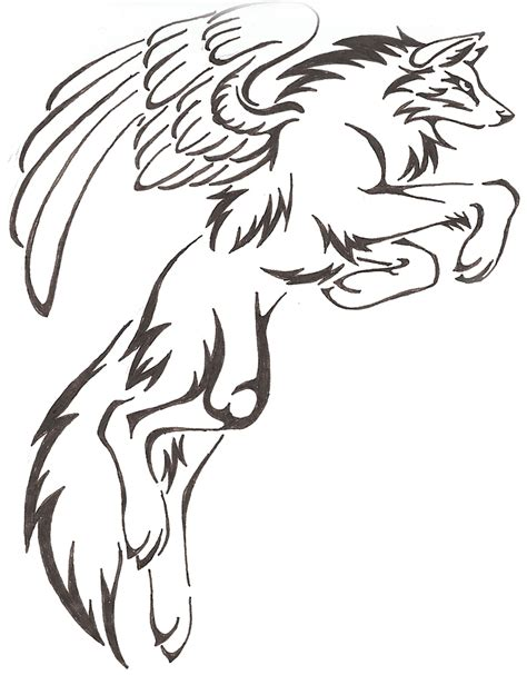 how to draw a wolf with wings step by step for