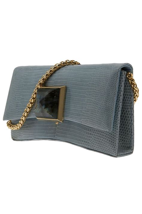 Lizard Ostrich Clutch By Kara Ross by Lyst Kara Ross Celina Ring Lizard Clutch In Gray