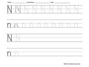 tracing and writing letter n worksheet