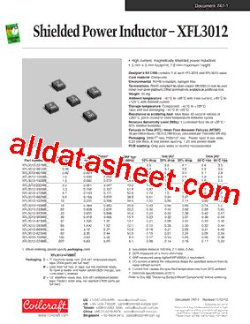 coilcraft inductors datasheet xfl3012 102med datasheet pdf coilcraft lnc