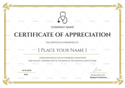 Blank Medical Appreciation Certificate Design Template In Psd Word Illustrator Indesign Indesign Certificate Template