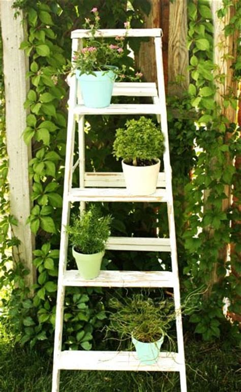 Wooden Ladder Garden Decor Outdoor Garden Decorations Made Of Wooden Ladders