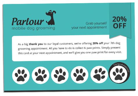groomer clip card template loyalty card programme parlour mobile grooming