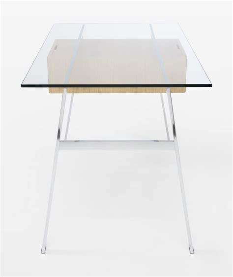 tavoli ufficio design scrivania elegante con cassetti a sbalzo piano in vetro