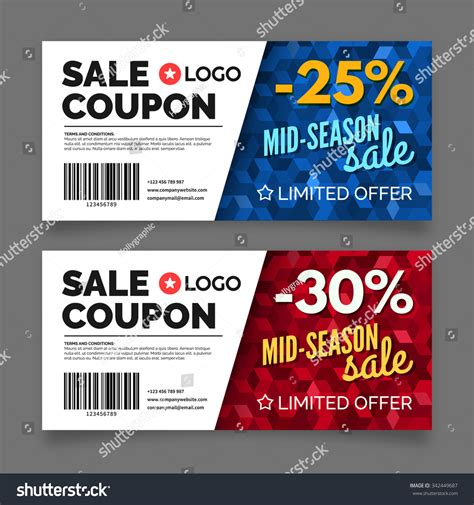 Graphic Design Gift Card Template by Gift Voucher Template Set Two Cards Stock Vector 342449687