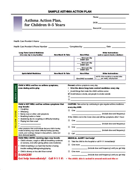 asthma management plan template asthma management plan template new 9 asthma plan