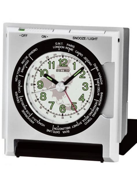 seiko travel alarm clock with light and fold out stand qhe116slh