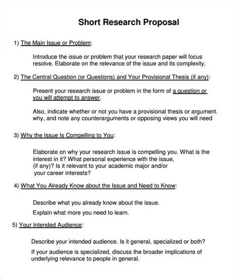 proposal format for research project sle research proposal template 10 free documents