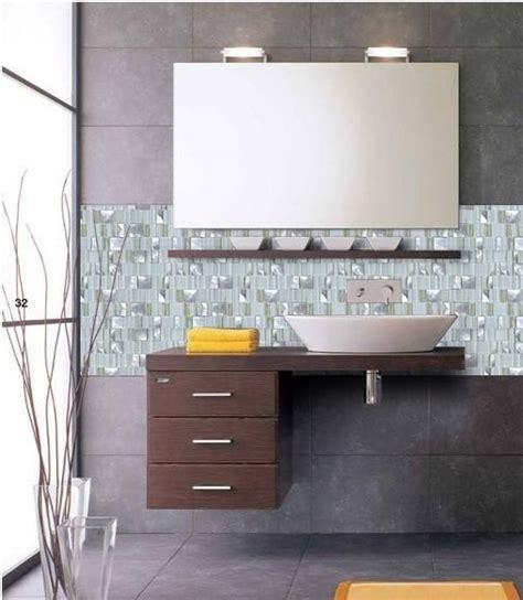 metal glass tile bathroom wall backsplash stainless steel