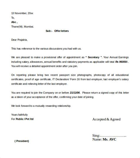 appointment letter format for a 31 offer letter templates free word pdf format