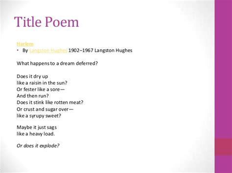 theme of poem raisin in the sun by langston hughes a raisin in the sun introduction