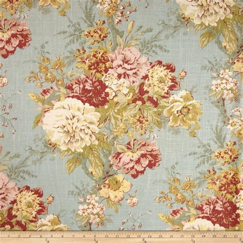 Large Floral Print Upholstery Fabric Waverly Ballad Bouquet Blend Robins Egg Discount