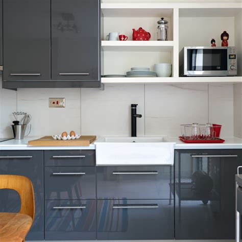 grey gloss kitchen cabinets modern high gloss grey kitchen kitchen decorating ideal home
