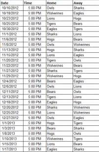softball schedule template helpdetails hometeamsonline sports web site templates