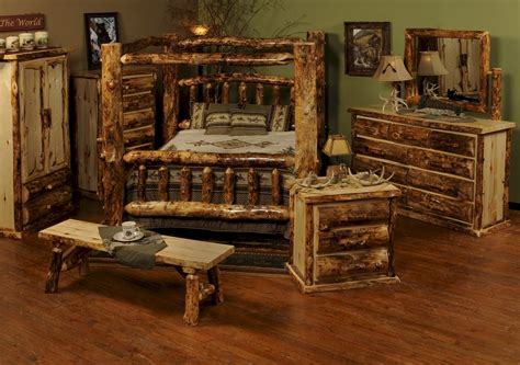 Log Furniture Bedroom Sets with Wonderful Rustic Bedroom Interior Design Style With Log Wood Canopy Bed Sets And Wooden Flooring