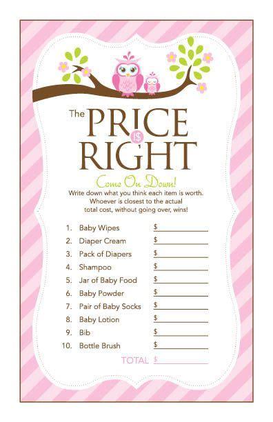 price is right baby shower template 17 migliori idee su festeggiamenti di nascita con gufi su