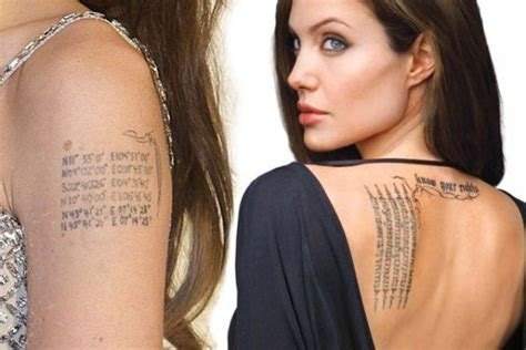 angelina jolie tattoos removed s 15 tattoos their meanings guru