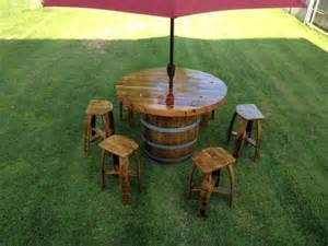 Wine Barrel Patio Table Custom Made Wine Barrel Umbrella Table Set By Wyld At Customs Custommade