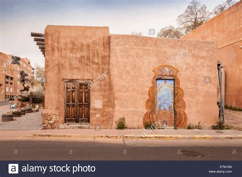 adobe house a traditional adobe house in santa fe new mexico stock